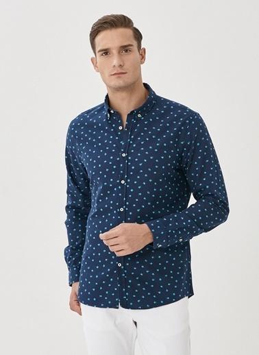 AC&Co / Altınyıldız Classics Tailored Slim Fit Düğmeli Yaka Baskılı %100 Koton Gömlek 4A2021100187 Lacivert